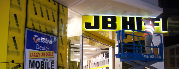 jb-hi-fi acrylic fabricated sign